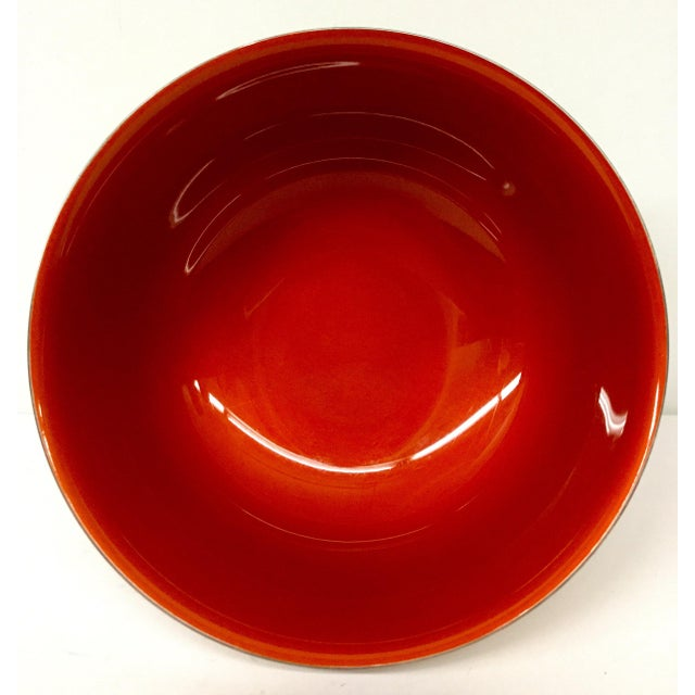Contemporary Revere Reed & Barton Silverplate Cinnabar Red Enamel Bowl For Sale - Image 10 of 10