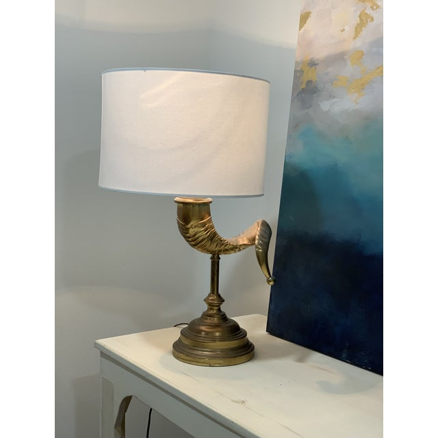 Vintage Ram Horn Brass Table Lamp For Sale - Image 4 of 7