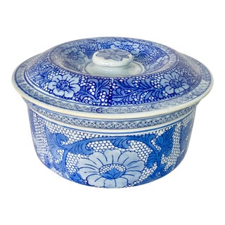 Vintage Williams Sonoma Blue and White Lidded Serving Dish For Sale