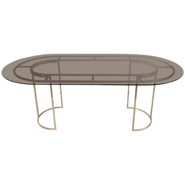 Huge Brass and Glass Dining Table by Romeo Rega For Sale