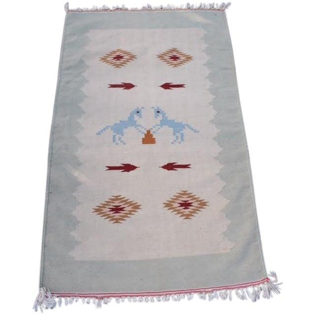 "Vintage Boho Chic Flat Weave Rug - 3'1"" x 5'4"" - Image 1 of 8"