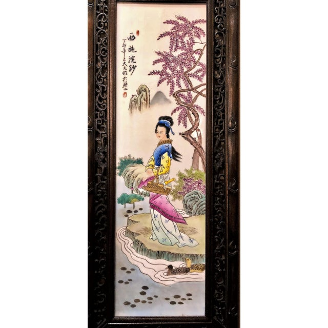 Asian Pair Antique 19th Century Chinese Famille Rose Panels. For Sale - Image 3 of 5