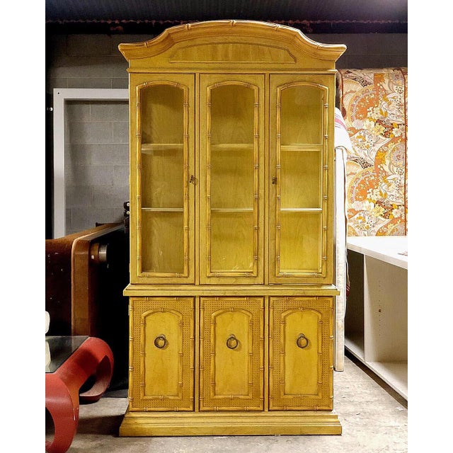 Vintage Yellow Faux Bamboo China Cabinet For Sale - Image 13 of 13