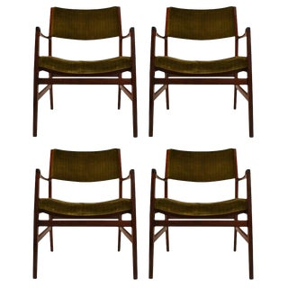 Set of Four Rosewood Armchairs For Sale
