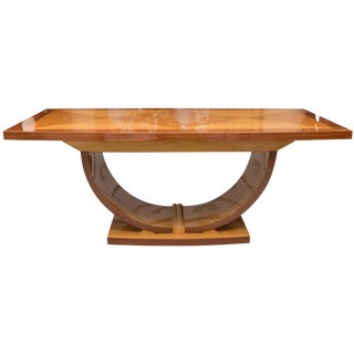 Italian Satinwood Dining Table in the Manner of Karl Springer For Sale