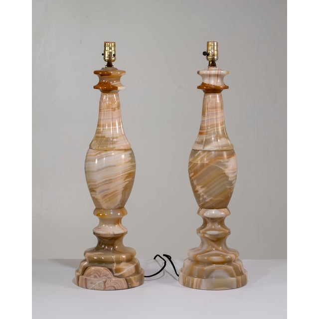 1960s 1960s Large Scale Neoclassical Onyx Table Lamps - a Pair For Sale - Image 5 of 13