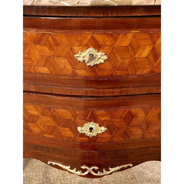 Marble French Marble Top Two Drawers Bronze-Mounted Tables or Nightstands - a Pair For Sale - Image 7 of 10