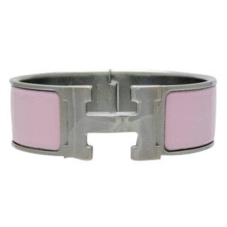 Hermes Clic Clac Pink Wide Enamel Bangle Bracelet Pm For Sale