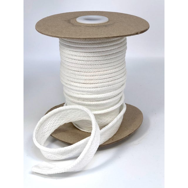 """One, 10.5 yard spool of 1/8"""" Indoor/Outdoor braided cord with flange. Color: Bright White/White Flange is 1/2"""" wide for..."""