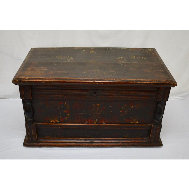 ".This large and handsome baroque-style pine trunk is built from stock over 1"" thick and is in the form of a faux mule..."