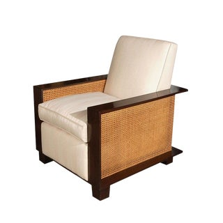 Paul Marra Max Walnut & Cane Club Chair For Sale
