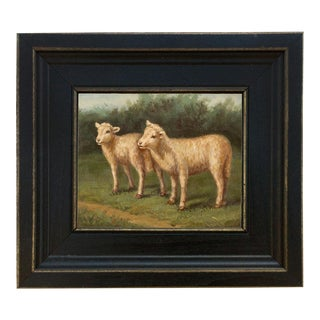 Folk Art Oil Painting Reproduction on Canvas in Distressed Black Solid Ash Frame of Lost Lambs by Arthur Tait For Sale