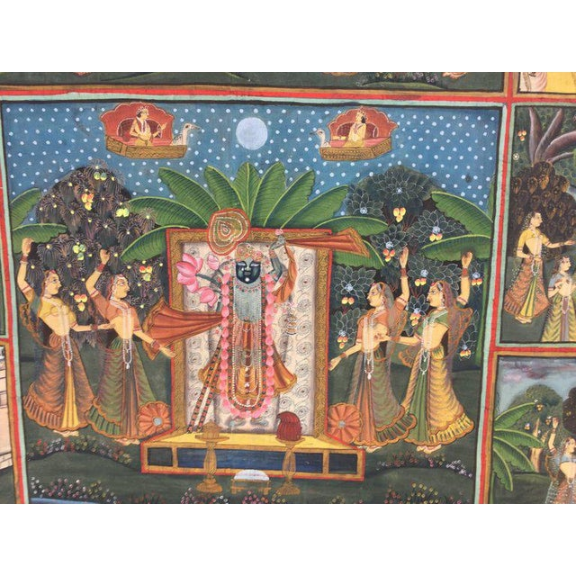 Gouache Large Colorful Pichhavai Silk Asian Painting With Krishna and Female Gopis For Sale - Image 7 of 11