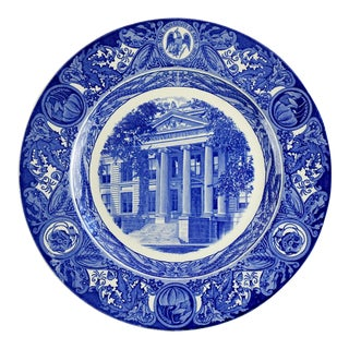 Blue & White Transferware Plate University of Iowa For Sale