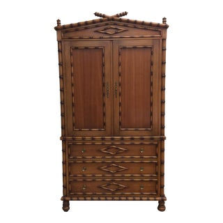 Faux Bamboo Armoire Entertainment Cabinet