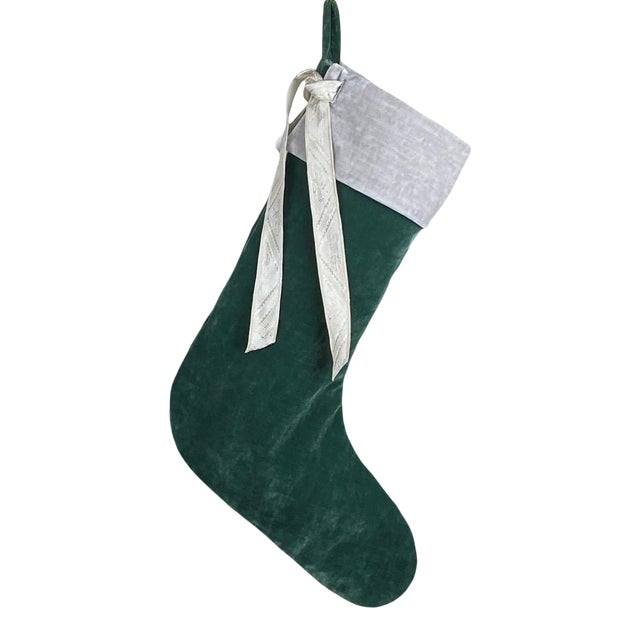 Green Velvet Christmas Stocking For Sale