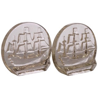 Ship Bookends by Blenko For Sale