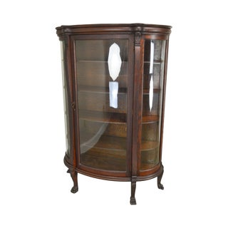Victorian Oak Antique Bow Glass Claw Foot China Cabinet For Sale