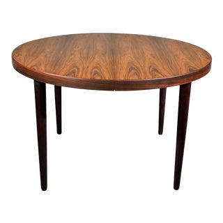 "Danish Mid Century Kai Kristiansen Round Rosewood Dining Table With Leaf- ""Hyllekrog"" For Sale"