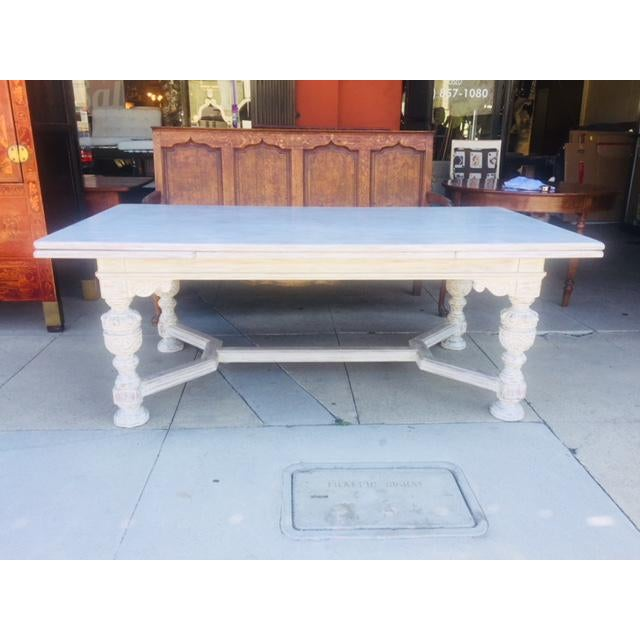 Vintage Carved Wood Refectory Table With Sliding Leaves For Sale - Image 13 of 13