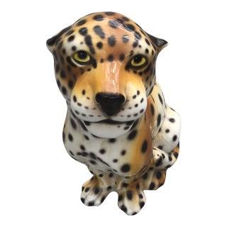 1960s Italian Porcelain Sitting Leopard For Sale