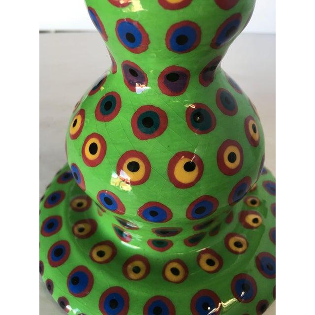 Modern California Art Pottery Green Candlestick Holder by Lynda Feman Circa 1998 For Sale - Image 3 of 7
