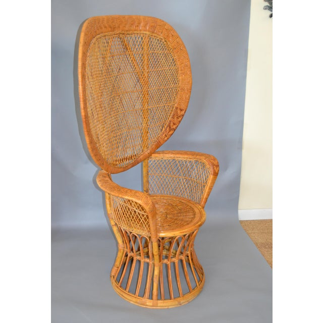 Bohemian Chic Stunning handwoven vintage peacock high back chair from the 1960s. Please note the details and different...