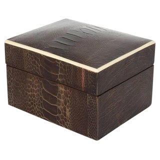 Exotic Ostrich Brown Leather Decorative Box With Bone Inlay For Sale