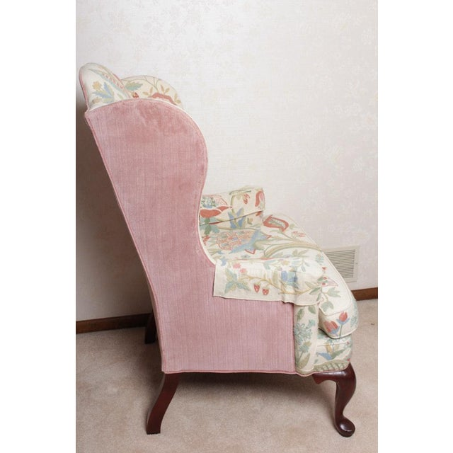 Vintage Woodmark Original Crewel Embroidered Wingback Chair For Sale - Image 4 of 11