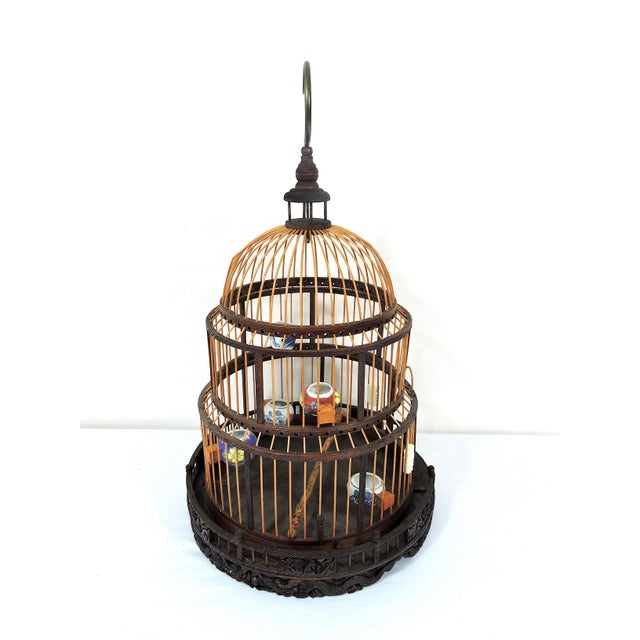 Asian Vintage Chinese Bamboo Bird Cage With Porcelain Bowls, Cicadas & Dragon Decorations For Sale - Image 3 of 10