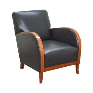 Stickley Fine Upholstery Collection Black Leather Indio Chair