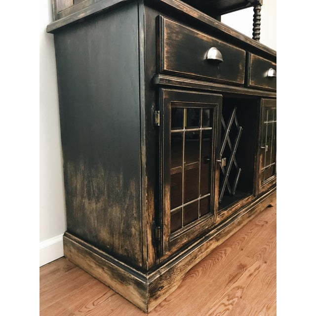Black Distressed Bistro Coffee Bar Hutch Cabinet For Sale In New York - Image 6 of 11