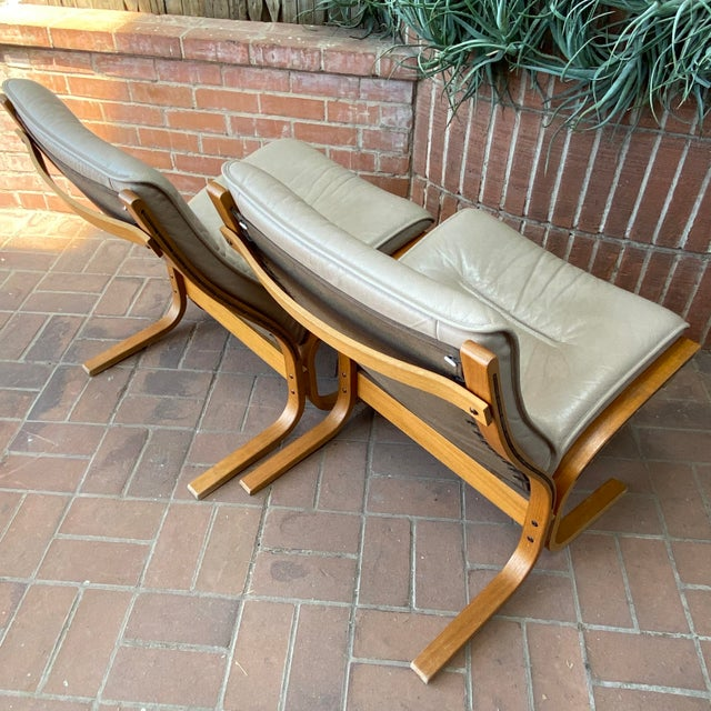Canvas Vintage Westnofa Ingmar Relling Design Leather & Bent Wood Lounge Chairs - a Pair For Sale - Image 7 of 13