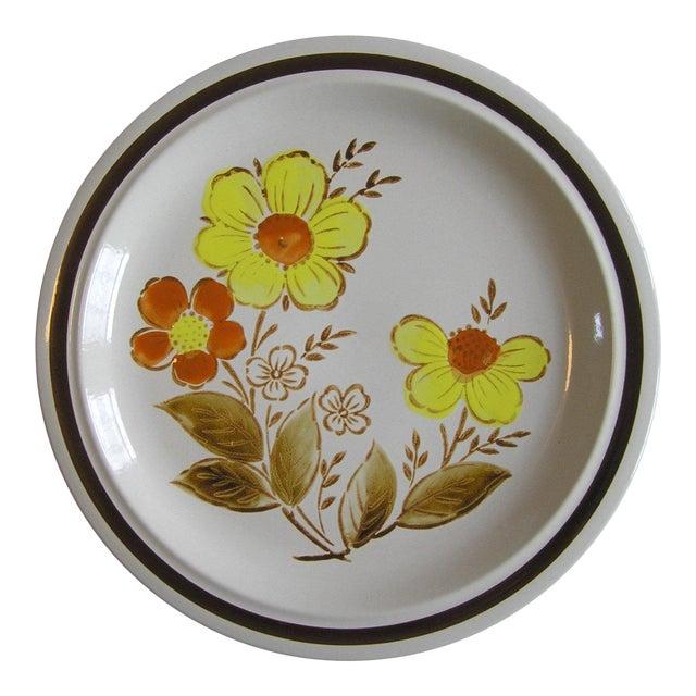 1970s Vintage Japan Stoneware Floral Serving Platter For Sale