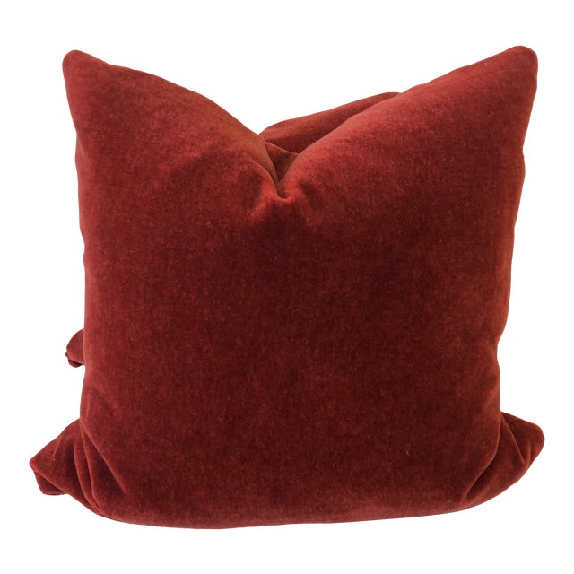 "Brick Red Mohair 22"" Pillows-A Pair For Sale"