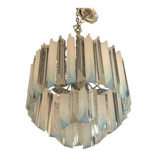 Vintage Hollywood Regency Aqua Blue Lucite Chandelier For Sale
