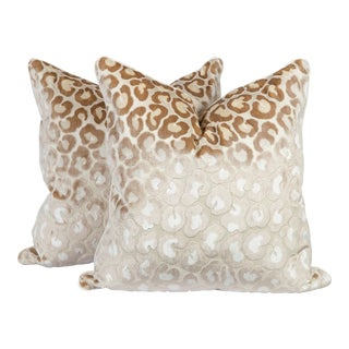 Cream Cut Velvet & Silk Leopard Pillows - A Pair For Sale