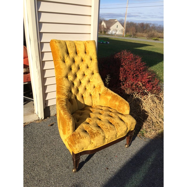 Mid-Century Tufted High Back Chair - Image 4 of 6