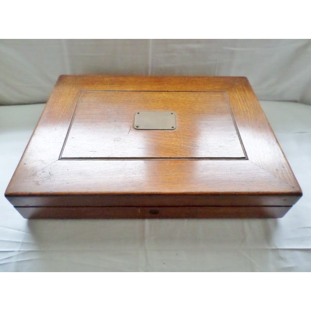 Traditional Antique Golden Oak Silver Chest /Service Box for Flatware For Sale - Image 3 of 11