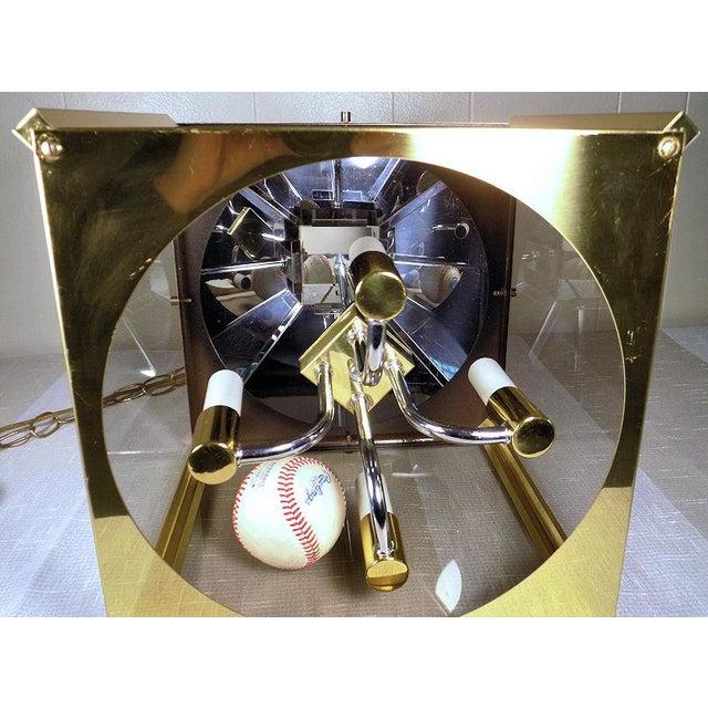 1970s Fredrick Ramond Post Modern Lantern Chrome & Brass Light Fixture For Sale - Image 9 of 13
