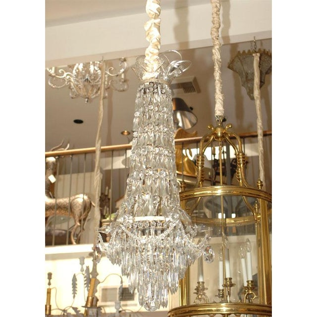 A nice crystal pendant chandelier France circa 1900, recently rewired. Condition: Good antique condition