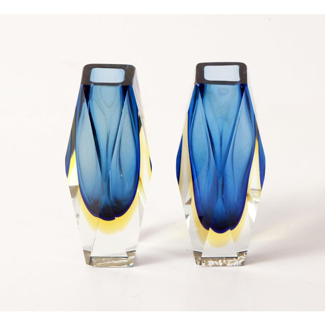 Exceptional pair of mid century modern Murano art glass vases by Alessandro Mandruzzato, with a deep blue & amber yellow...