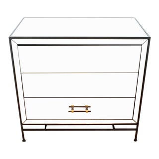 Modern West Elm Mirrored Night Stand For Sale