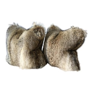 Contemporary Large Coyote Fur Pillows - a Pair For Sale