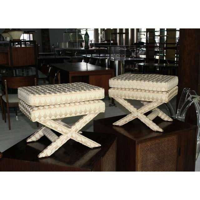 Pair of Mid-Century Modern X-Base Billy Baldwin Benches For Sale - Image 10 of 10