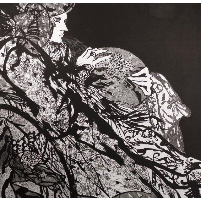 """Black Susan B. Hale Kemenyffy """"Portrait of Janel : Mirror Away"""" Signed Vintage Linocut Unframed For Sale - Image 8 of 8"""