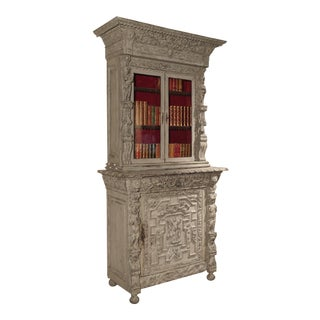 Painted Antique Renaissance Style French Bibliotheque Deux Corps For Sale