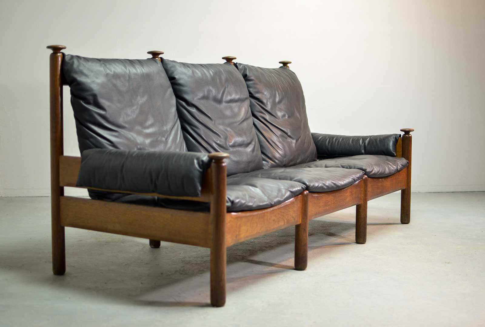 Charmant Sturdy Mid Century Smooth Black Leather Scandinavian 3 Seat Sofa, 1960s For  Sale