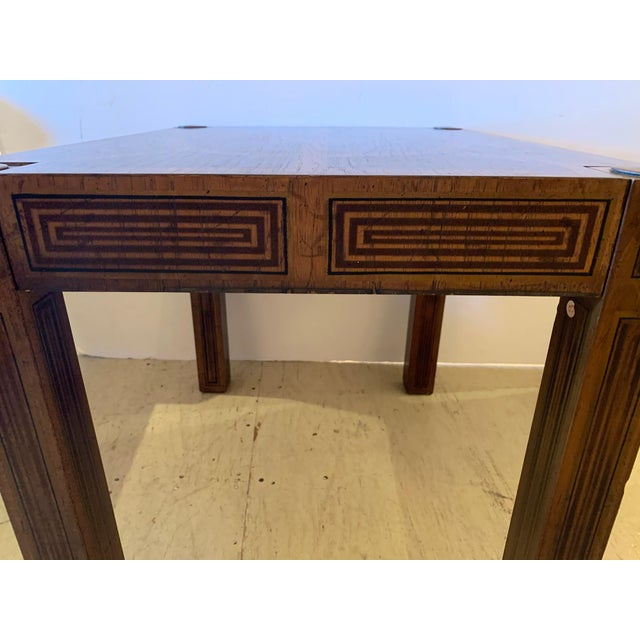 Metal Inlaid Wood Rectangular End Table With Geometric Decoration For Sale - Image 7 of 13