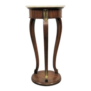 French Style White Marble Top Pedestal For Sale